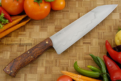 Chef's Knife with Carved Ironwood (Honyaki) - 8 in.
