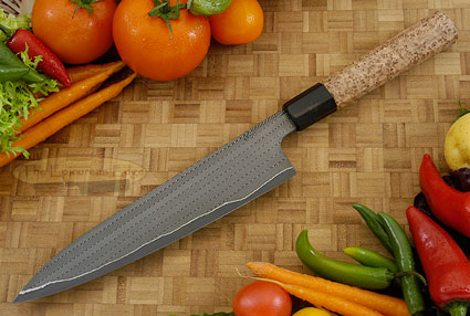 Chef's Knife - Gyuto (8-1/4 in.) with Herringbone Damascus and Black Ash Burl