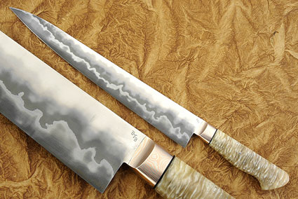 Slicing Knife (Sujihiki) with Musk Ox Horn (12-1/4