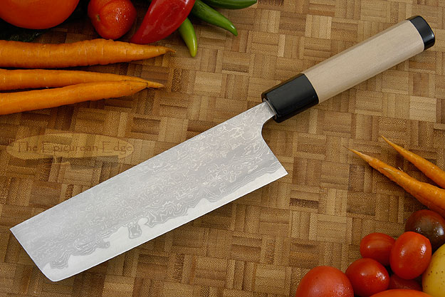 Damascus V2S Damascus Chef's Knife - Nakiri - 6-1/2 in. (165mm)
