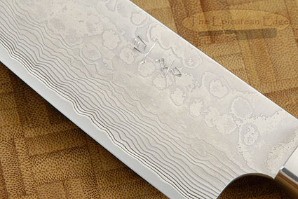 Western Santoku - 170mm (7-1/8 in) - with Afzelia Lay, Suminagashi