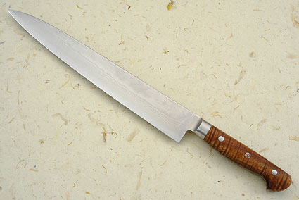 Western Slicer (Sujihiki) - 270mm (10-3/4 in) - with Curly Koa, Suminagashi
