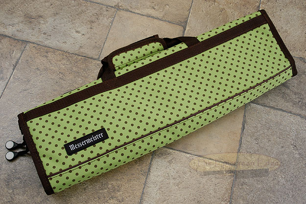 8 Pocket Knife Roll, Green with Brown Dots, Padded (2088-8/GD)