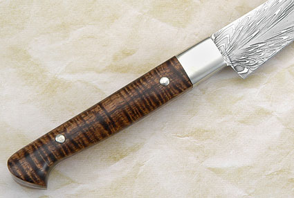 Utility Knife with Feather Pattern Damascus and Curly Koa