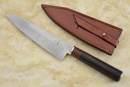 Damascus Chef's Knife with Ebony and Snakewood (7-1/4 inches)