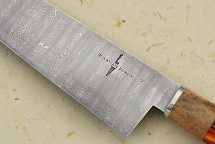 Damascus Chef's Knife with Amber Stag and Oosic (9 inches)