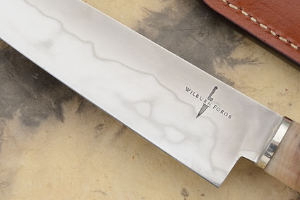 Slicing Knife with Ironwood and Sheep Horn - Honyaki - (6-3/4 inches)
