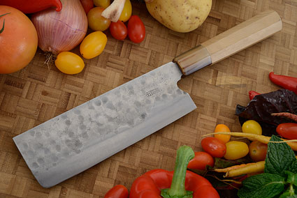 Maboroshi no Meito Vegetable Cleaver - Nakiri, Traditional with Finger Rest - 180mm (7 1/8 in.)