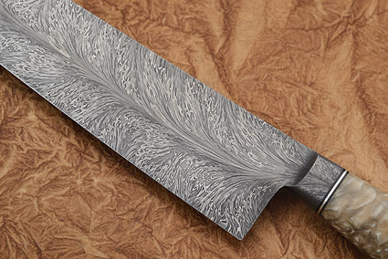 Chef's Knife with Muskox Horn and Dragon's Breath Damascus