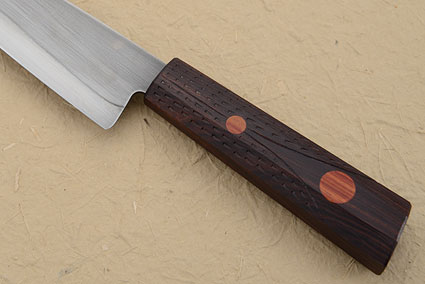 Chef's Knife with Carved Ironwood (Honyaki) - 7 in.