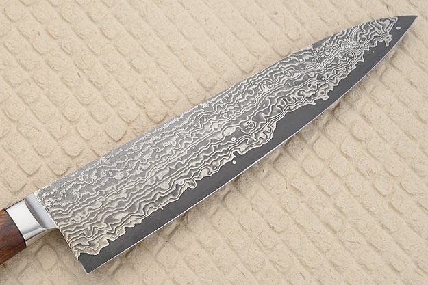 Chef's Knife (Gyuto) with Stainless Damascus San Mai and Rosewood (9-3/4
