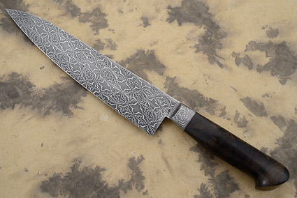Mosaic Damascus Chef's Knife (Gyuto) with Ziricote Stump Wood Burl (9-1/2 in.)