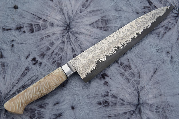 Chef's Knife (Gyuto) with Damascus San Mai and Muskox Horn (8-1/2