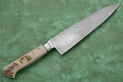 Chef's Knife with Sheep Horn and Star Burst Damascus (7-1/2 in)