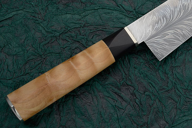 Chef's Knife with Feather Pattern Damascus, Quilted Buckthorn and Ebony (7-3/4 inches)