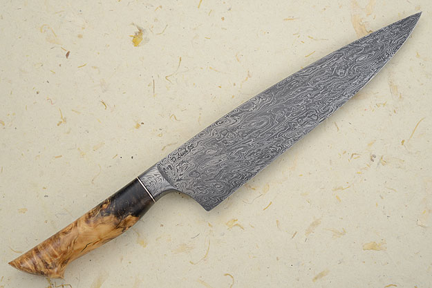 Chef's Knife (8.7 in) with Damascus and Big Leaf Maple Burl