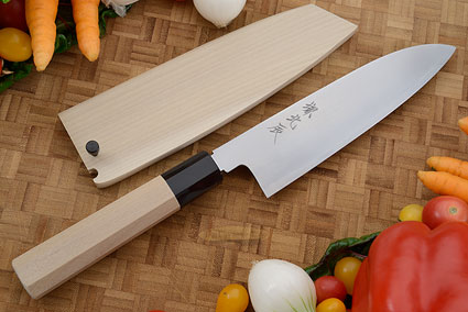 Migaki Chef's Knife - Santoku, 180mm (7-1/8 in.) with Saya