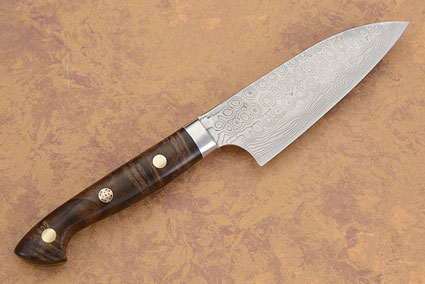 Small Chef's Knife (Petit Gyuto) with Russian Walnut Burl - 105mm (4 in.)