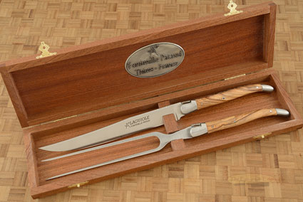 Laguiole Forged Carving Set with Olivewood