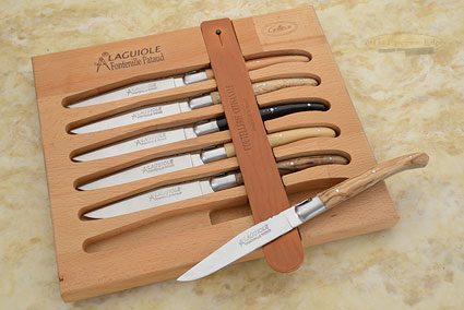 Laguiole Steak Knives, Set of 6 with Mixed Exotic Woods