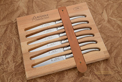 Laguiole Steak Knives, Set of 6 - Brushed Stainless