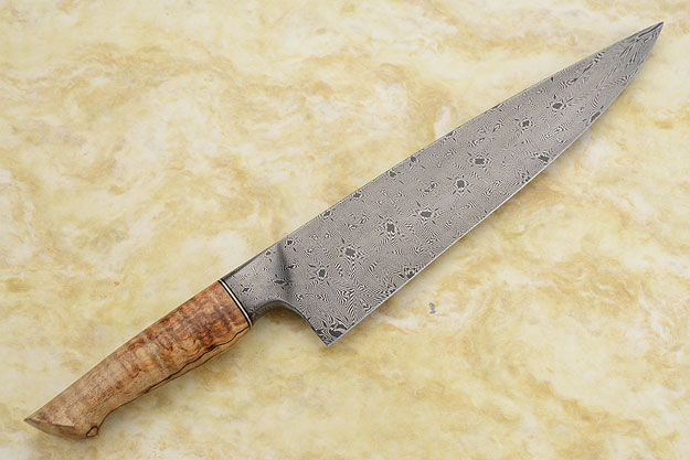 Chef's Knife (9.9 in) with Mosaic Damascus and Spalted Curly Maple