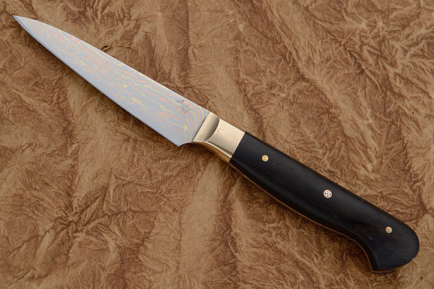 Paring Knife (Petty) with Mokume Gane San Mai and Ebony (3-1/3 in.)