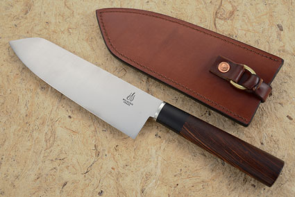 Chef's Knife (Santoku) with Honduran Rosewood and Ebony (7-1/8 in)