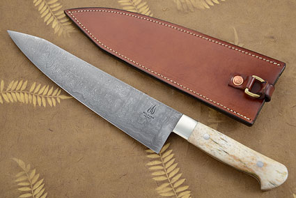 Damascus Chef's Knife with Giraffe Bone (9 2/3 inches)