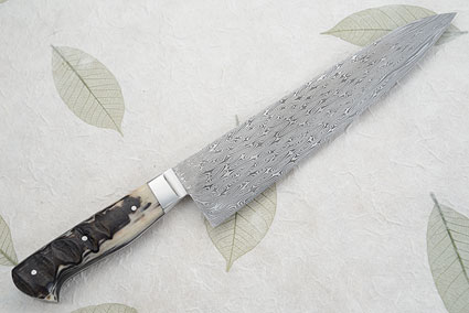 Chef's Knife (Gyuto) with Turkish Twist Damascus and Black Sheep Horn (10-1/3
