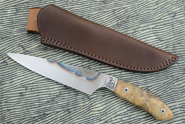 Hand Forged Utility/Slicer with Buckeye Burl