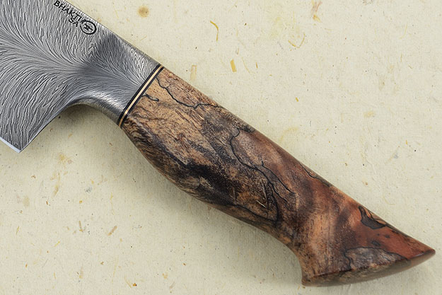 Chef's Knife (7-1/2 in.) with Spalted Maple and Feather Pattern Damascus