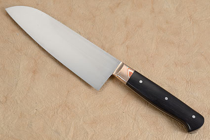 Chef's Knife (Santoku) with African Blackwood and Mokume (5.8