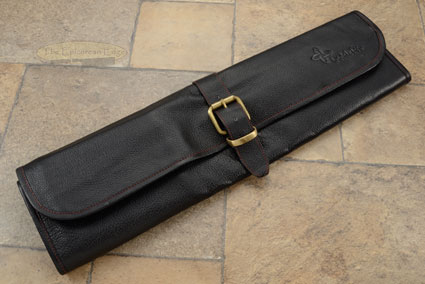 8 Slot Leather One Buckel Knife Roll - Black (LB123)