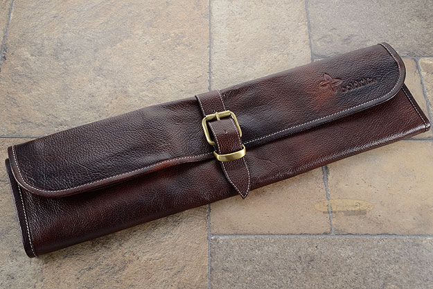 8 Slot Leather One Buckel Knife Roll - Brown (LB122)