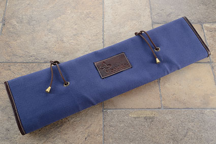 8 Slot Canvas Leather Tie Knife Roll - Blue (CT102)