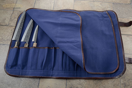 9 Slot Canvas Knife Roll - Blue (CKR109)