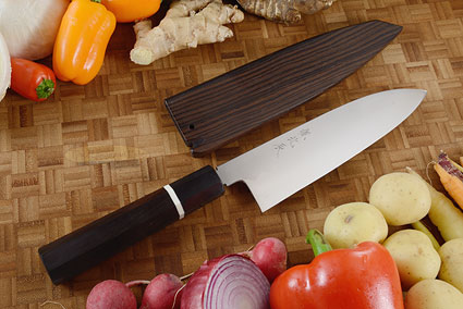 Honyaki Chef's Knife - Santoku, 180mm (7 1/8 in) with Saya