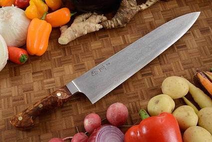 Western Chef's Knife with Afzelia Burl Handle, Suminagashi - 270mm (10 2/3 in)