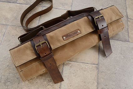 12 Slot Canvas Roll Knife Bag - Camel