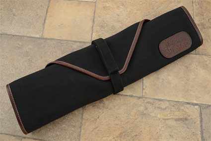 6 Slot Canvas Knife Roll - Black with Leather Trim (CW134)