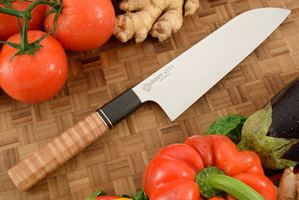 Chef's Knife (Santoku) -- 7-1/8 in.  -- with Curly Maple -- AEBL Stainless Steel