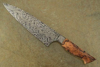 Chef's Knife (8-1/2 in.) with Spalted Maple and River of Fire Damascus