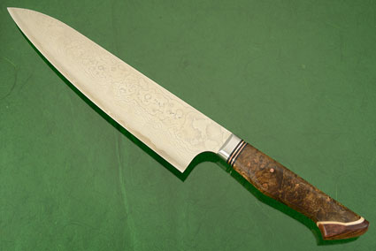 Chef's Knife - Gyuto - (210mm / 8-1/4 in) with Stainless Damascus and Maple Burl