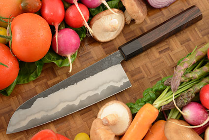 Chef's Knife (Santoku) with San Mai Traditional Macassar Ebony Handle (7-1/4