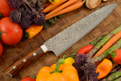 Damascus Chef's Knife (Gyuto) - 240mm (9-1/2in) - with Ironwood