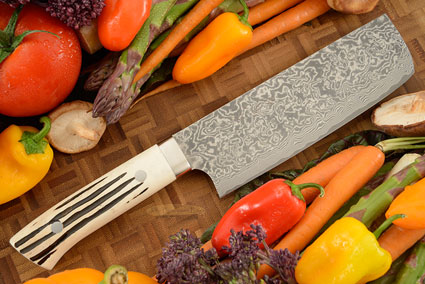 Damascus Chef's Knife (Nakiri) - 170mm (6-2/3in) - with Stag
