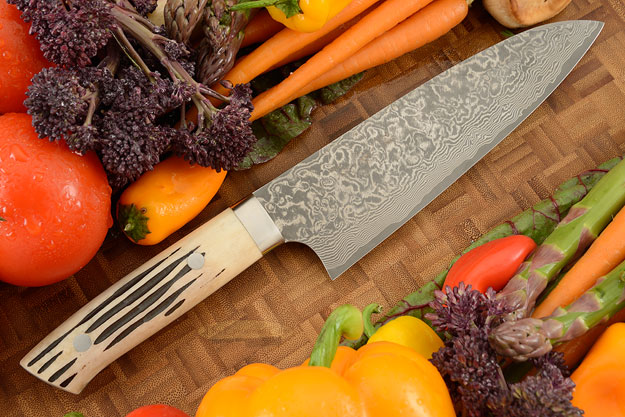Damascus Chef's Knife (Santoku) - 180mm (7-1/8in) - with Stag
