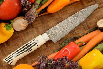Damascus Slicing Knife (Petit Gyuto) - 150mm (6 in) - with Stag