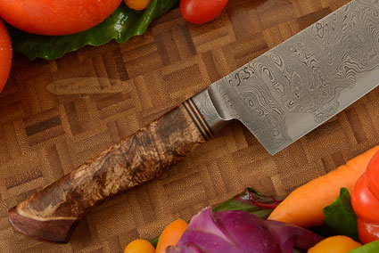 Damascus Chef's Knife with Maple Burl and Curly Koa (7 3/4 in.)